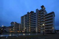 建築事業 公共住宅 松が丘住宅05_外観北西面夕景